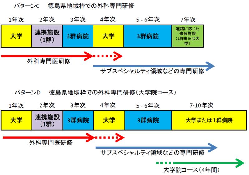 徳島大学外科専門研修プログラムローテーション例(図2)